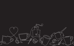 Coffee Horizontal Pattern. Background with Continuous Drawing Cups, Spoon Coffee Beans and Grinder. Chalkboard style. Can be used for your design works. Vector illustration.