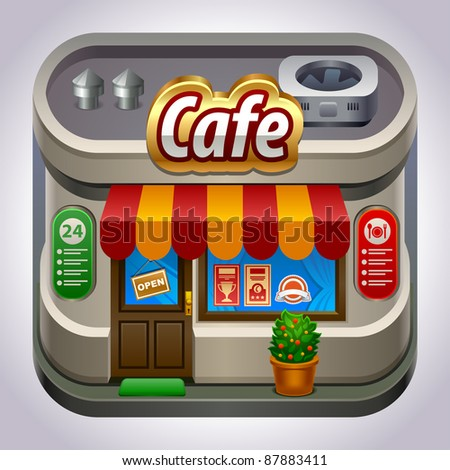 Coffee house. Cute detailed icon.