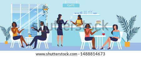 Coffee House Panorama Flat Vector Illustration. Barista and Cafe Customers Cartoon Characters. Young Couple and Girlfriends Drink Delicious Hot Beverage. Catering Business, Takeaway Service Foto stock ©