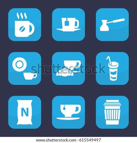 Coffee Icon Set Of 9 Filled Icons Such As Dish Drink