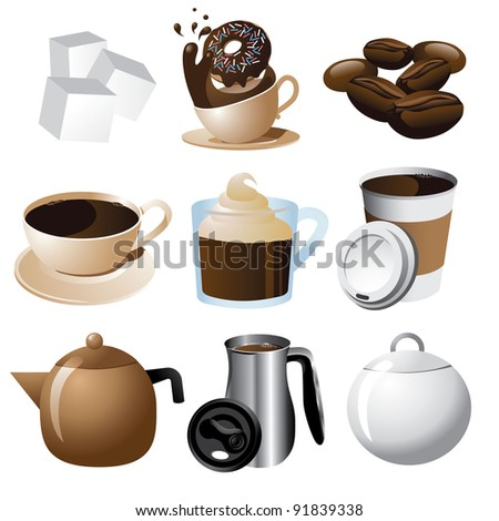 Coffee Icons EPS 8 vector, grouped for easy editing.