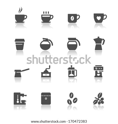 coffee icons with white
