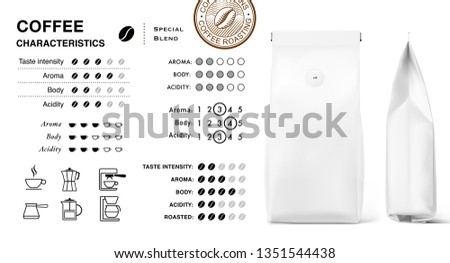 Coffee infographic icons. Set of sign for detailed guideline. Vector elements on a white background. Ready for your design. Suitable brewing methods. Can be used on packaging, advertising, promo.