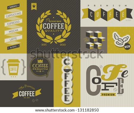 Coffee labels and badges. Collection of vector design elements. - stock vector