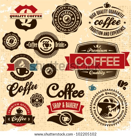 Coffee labels and badges. Retro style coffee vintage collection.
