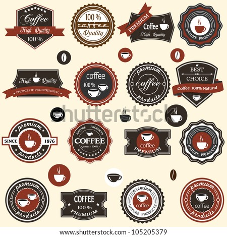 Coffee labels and elements in retro style. Vector set - stock vector