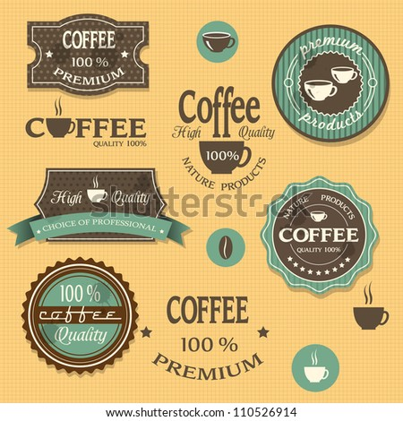 Coffee labels for design vintage style. Vector set
