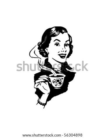 coffee lady   retro clip art