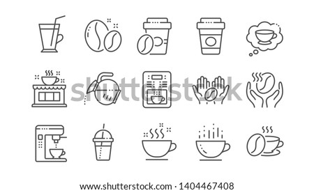 Coffee line icons. Beans, hot cocktail and coffee maker machine. Espresso cup, cappuccino line icons. Latte vending machine and roasted beans. Linear set. Vector
