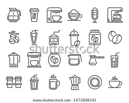 Coffee line icons. Hot drink cup, nature coffee beans and cafe outline pictogram. Cafe espresso bean label, coffee maker machine and pot drink holder. Isolated vector signs set