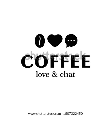 Coffee logo design template. Modern heart, love and chat illustration logotype for cafe. Vector caffeine bean icon symbol