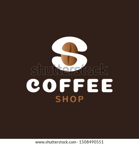 Coffee logo design template. Vector bean icon symbol. Letter S label illustration background. Modern caffeine seed logotype for cafe, shop, brand