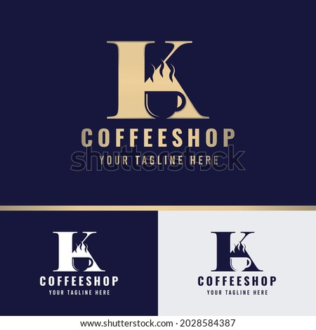 Coffee Logo Template -  Letter K Logo, suitable for any coffee shop with K initial. Stock fotó ©