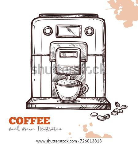 coffee machine black hand drawn ...