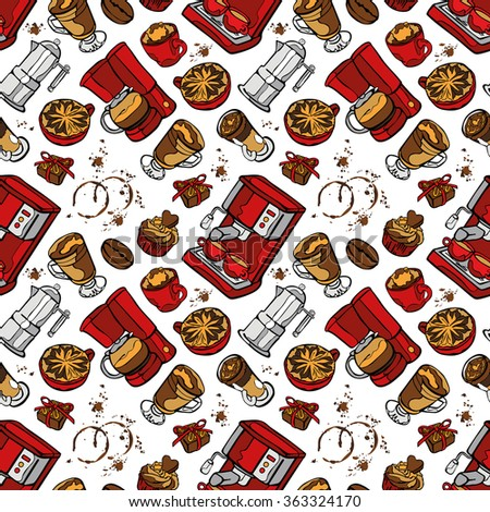 Coffee machine. Coffee pot and coffee cup. Coffee stains. Coffee splashes. Coffee dessert. Vector seamless pattern (background).