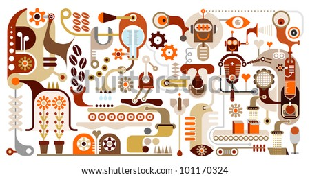 Coffee Making - vector illustration. Coffeemaker. Coffee house menu. Pour coffee beans.