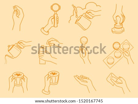 coffee making with hand illustration with grinding coffee beans,cuppping taste,tamping,milk streming,pouring,bean selecting and serving vector illustration Stok fotoğraf ©