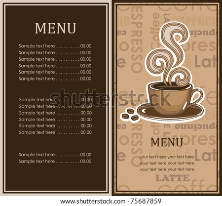 Coffee Menu Card. Vector Illustration - 75687859 ...