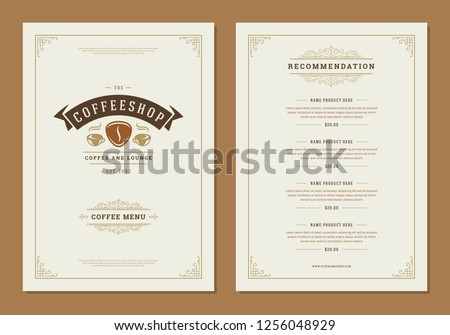Coffee menu design brochure template. Coffee shop logo with vintage typographic decoration elements. Vector Illustration.
