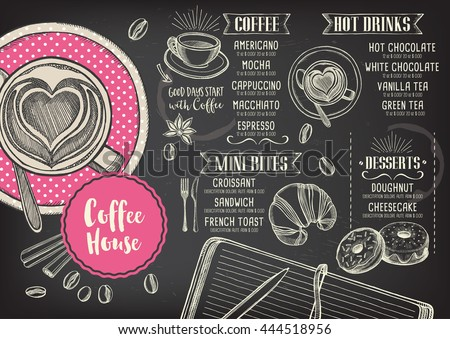 Coffee menu placemat food restaurant brochure, coffee shop template design. Vintage creative dinner template with hand-drawn graphic.