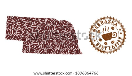 Coffee mosaic map of Nebraska State and corroded seal. Vector map of Nebraska State collage is created of coffee. Round rosette stamp in brown colors. Flat composition for best coffee delivery ads. Photo stock ©