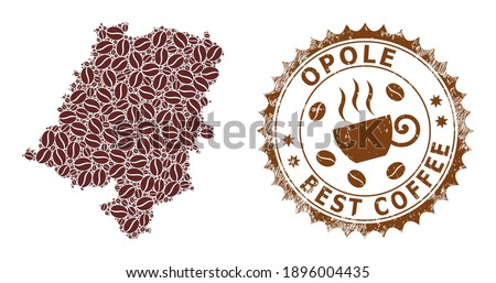 Coffee mosaic map of Opole Voivodeship and unclean stamp. Vector map of Opole Voivodeship collage is composed of coffee beans. Round rosette stamp in brown colors. Foto stock ©