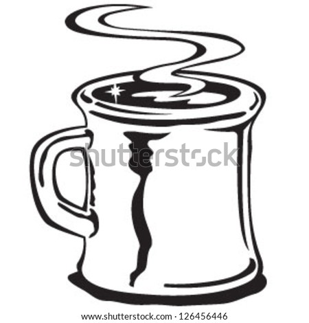 Coffee Mug in Black and White or LIne Art Retro Vintage Style