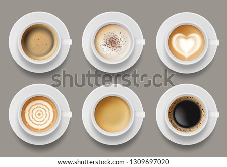 Coffee mug top view. Cappuccino espresso latte milk brown coffee vector realistic template