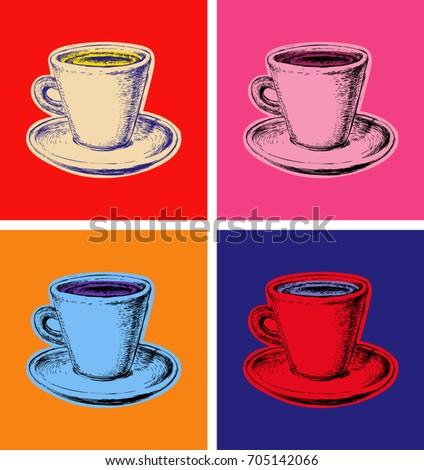 Coffee Mug Vector Pop Art Style