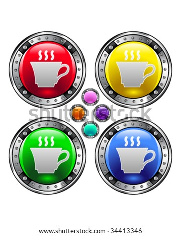 Coffee or tea cup icon on on round colorful vector buttons suitable for use on websites, in print materials or in advertisements.  Set includes red, yellow, green, and blue versions. - stock vector