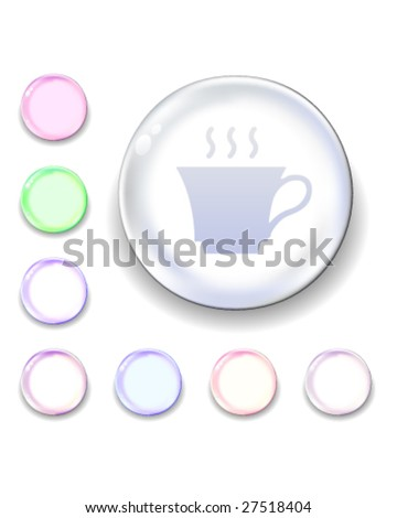 Coffee or tea cup icon on translucent glass orb vector button