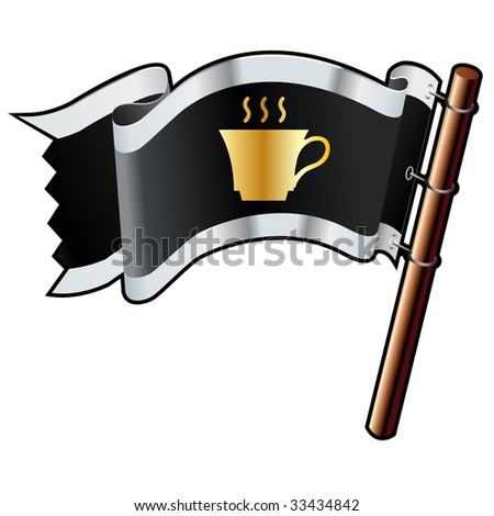 Coffee or tea cup on black, silver, and gold vector flag good for use on websites, in print, or on promotional materials