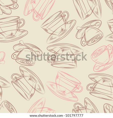 Coffee or tea time, seamless background for your design