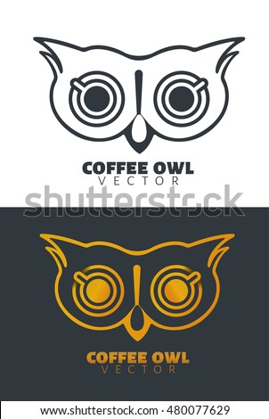 coffee owl face logos cafe