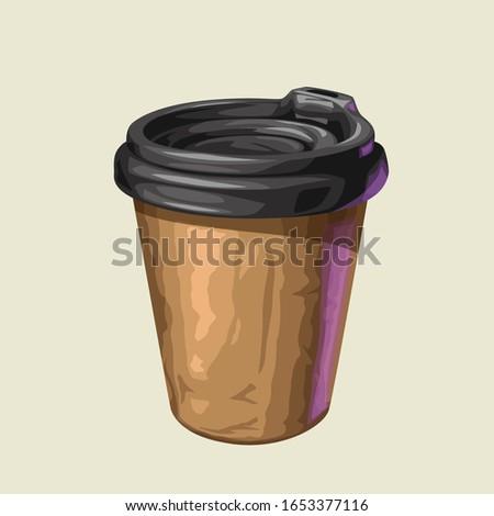 coffee paper cup black cap