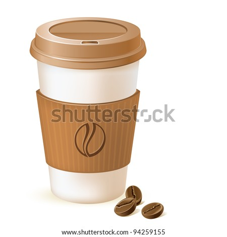 coffee paper cup with cardboard sleeve and beans