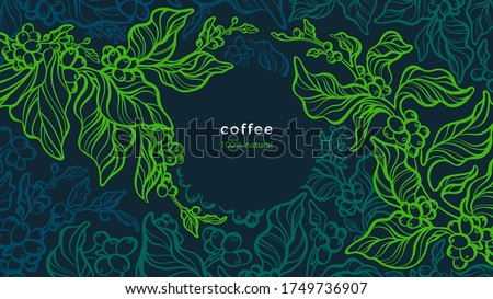Coffee plant. Vector green background. Art line illustration. Tropical tree, aroma bean, leaves. Fresh farm plantation. Aroma arabica, robusta. Night forest