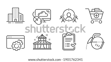 Coffee pot, Cloud computing and Approved checklist line icons set. Buildings, Circus and Add products signs. Seo gear, Business targeting symbols. Quality line icons. Coffee pot badge. Vector