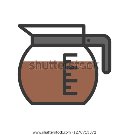 Coffee pot vector, coffee related filled design editable stroke icon