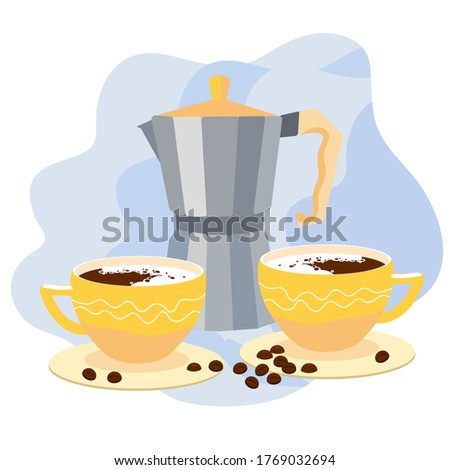 coffee pot with two cups of
