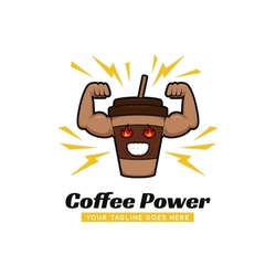 Coffee power gym logo, coffee cup with strong big arm muscle logo icon mascot illustration