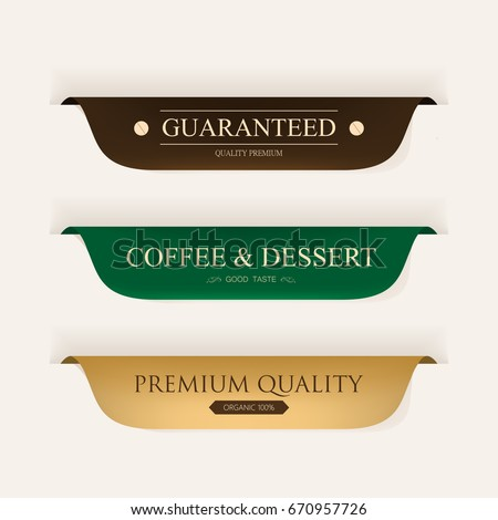 coffee premium label gold color and leather. vintage banner and badges design.