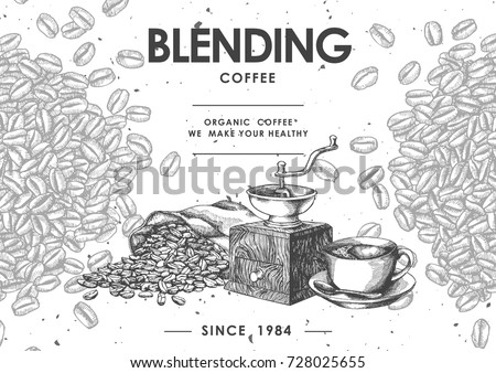 Coffee product label with Black coffee , Coffee grinder & Coffee bean in sackcloth.Use by Pen & Ink Sketch Drawing Technique.Vector & illustration.