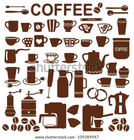 Coffee related silhouette symbols