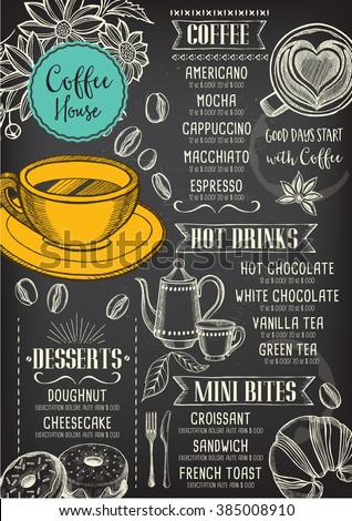 coffee restaurant brochure vector coffee shop menu design vector cafe template with hand drawn. Black Bedroom Furniture Sets. Home Design Ideas