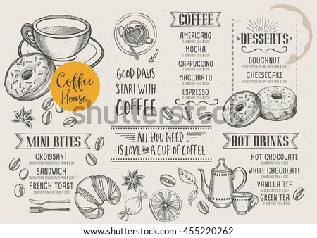 Coffee restaurant brochure vector, coffee shop menu design. Vector cafe template with hand-drawn graphic.