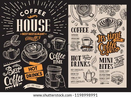 Coffee restaurant menu. Vector beverage flyer for bar and cafe. Blackboard design template with vintage hand-drawn food illustrations.