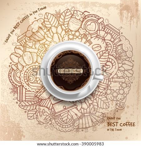 coffee round design in vintage