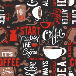 Coffee Seamless Pattern.Coffee Lettering.Vector illustration.