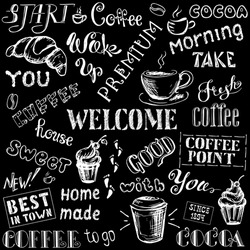Coffee seamless pattern with lettering,hand drawn on black background, stock vector illustration
